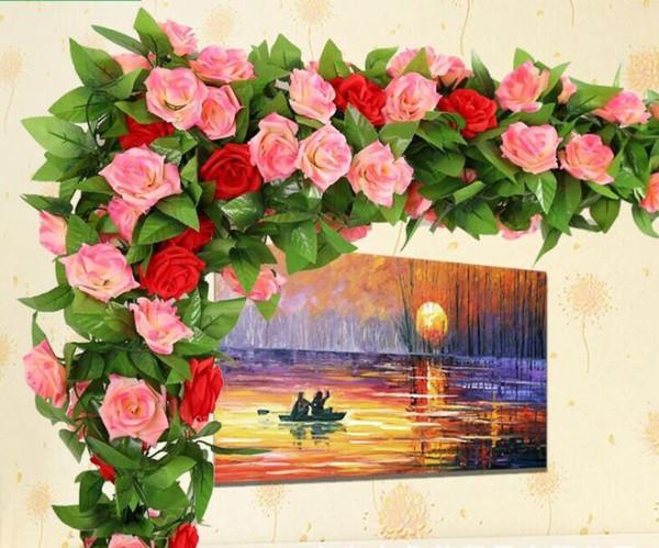 "2.4m /94.5"" Silk Rose Vine Artificial Rose Camellia Flower Vine Wedding Christmas Decorate Artificial Rose Vines 16 colors in stock"