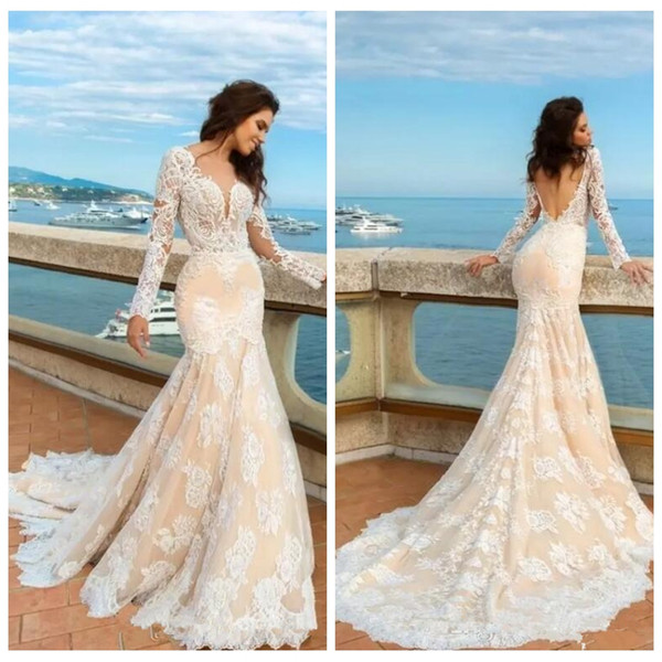 Long Sleeves Lace Appliques Mermaid Wedding Dresses 2019 Slim Ladies Customized Formal Bridal Gowns Vestidos De Mariee Cheap Long