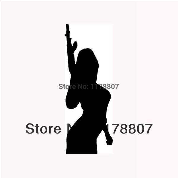 HotMeiNi Wholesale 20pcs/lot SEXY GIRL WITH GUNVinyl for CarTruck Bumper Auto Door Laptop Kayak Decal Machine Chick Arms Shoot Rifle
