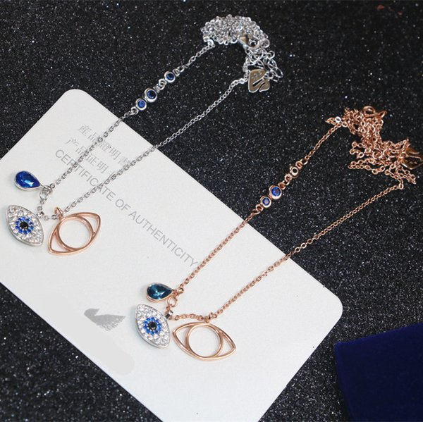 New Women's Devil's Eye Pendant Necklaces s925 Sterling Silver Color Blue Diamond Eye Pendant Necklace Female Back Cover Micro Inlay Pendant