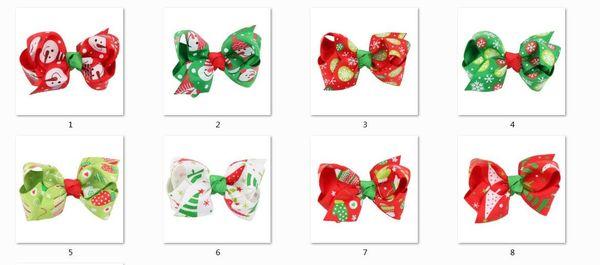 24pcs Europe Bow Christmas Baby Girl Hairpin Print Fashion Children Hair Accessories For Kids Turban Hair Clips Gift HC044