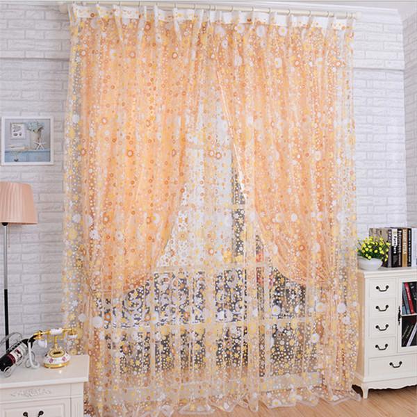 top popular Window TreatmentQuneed Curtains 2018 Print Floral Voile Door Sheer Window Curtains Room Curtain Divider 100x200cm Purple Curtains 2020