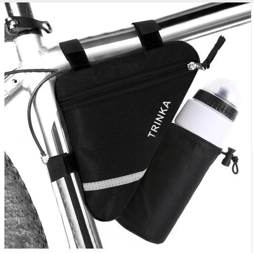 Bicycle Frame Triangle Bike Bag Water Bottle Pocket Reflective Stripe Storage Pouch Bags Cycling MTB Road Bike Tube Pannier