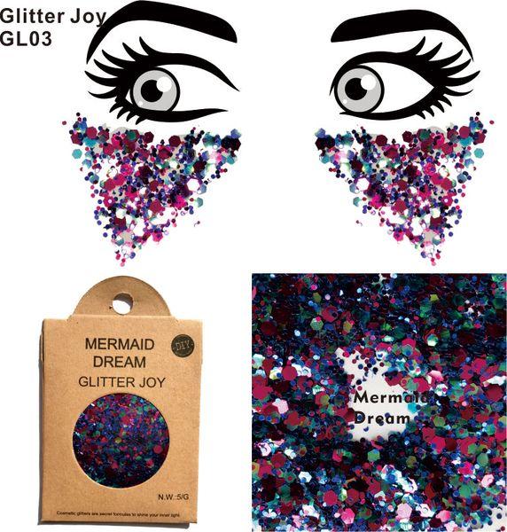 GL03 eine Packung Mermaid Dream Chunky Eye Glitter Gesicht Körper Pailletten Dekorationen Festival Body Dance Makeup Art