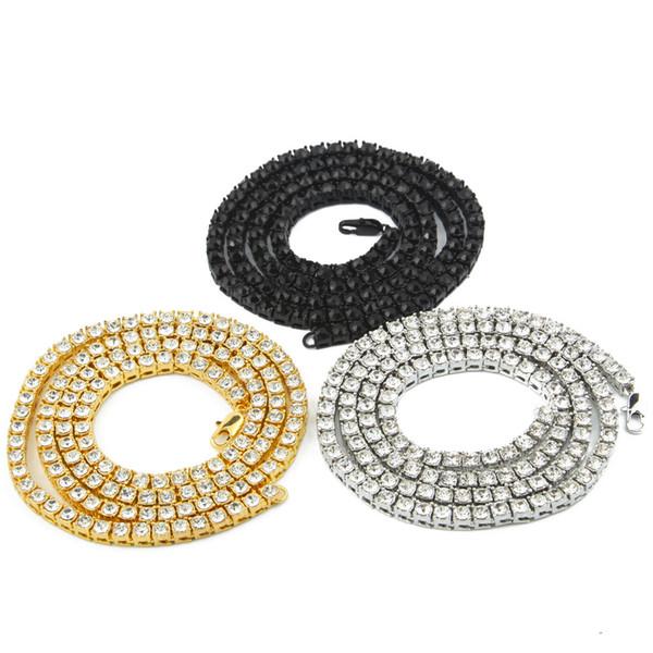 Homens e mulheres por atacado 14 k ouro congelado para fora 1 fileira de tênis cadeia HipHop colar Bling Steampunk colar 18inch-26inch colares