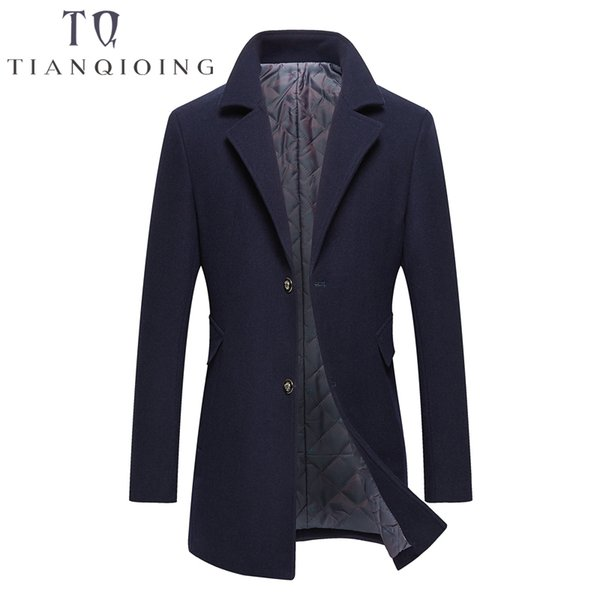 Men Wool Overcoat Long Color Windbreaker 2018 High-end Fashion Woolen Coat Man Business Casual Overcoat Wool Slim Jacket