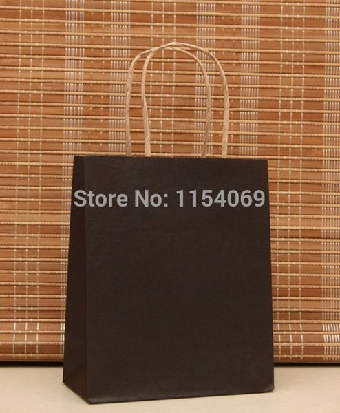 Free Shipping 50pcs/lot Black Kraft Paper Bag 18x15x8cm Jewelry Boutique Shopping Packaging Paper Gift Bags With Handle