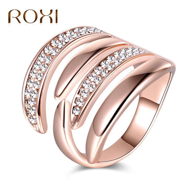 ROXI Fashion Rose Gold Color Geometric Rings for Woman Crystal Finger Ring Hollow Out Female Size Rings Jewelry anillos mujer