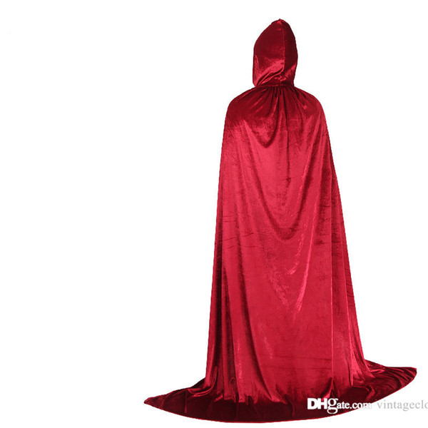 Halloween wizard Cosplay Costume Hooded Adult Kids Party Solid Black Green Red Men Scary Cloak Cape