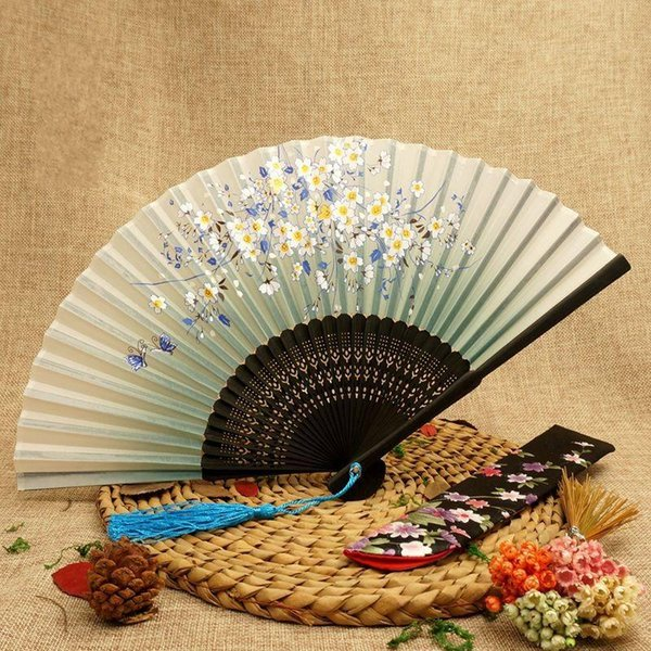 Women Folding Fans Smile Cherry Blossoms Process Bamboo Hand Fan Manual Carve Silk Tabletop Decor Arts And Crafts 4 5sg ff
