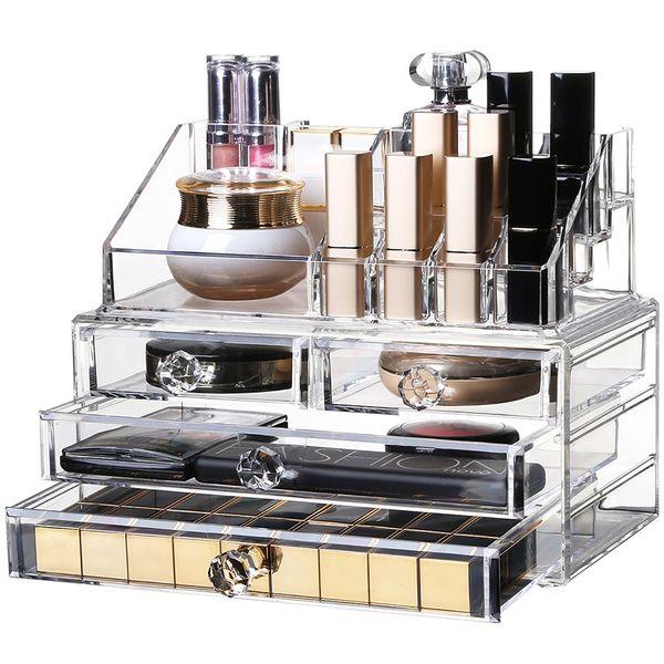 High capacity Acrylic Storage Box Cosmetic jewelry Drawer Fashion Transparent Makeup Lipstick nail Polish Tattoos Tool Organizer