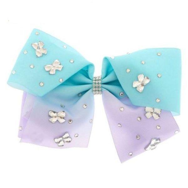 3 style 8inch JoJo Siwa Large Gem-tastic Pink Hair Bow W/ Round & Bow Shaped Stones girl hair bow headwar Hair accessories 6pcs