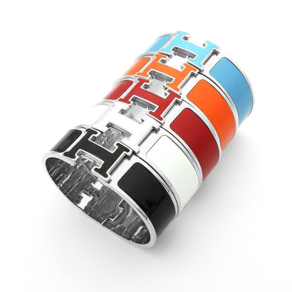 New arrival 316L Titanium steel punk bangle in 1.8cm width with enamel colorful and H words for man and women bangle in size 5.9*4.8cm jewel