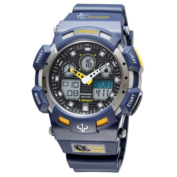 Free Shipping Pasnew Fashion Men Sports Watches Waterproof 100m Outdoor Digital Watch Swimming Diving Wristwatch with gift box