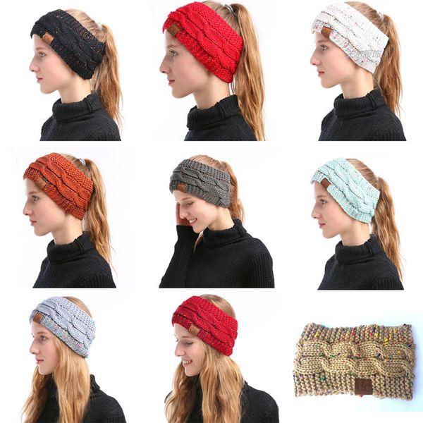 CC de punto de las vendas de las mujeres Winter Headwrap Hairband Crochet Turbante de la venda del abrigo CC colorido del oído caliente de la venda del pelo Accesorios 9 colores calientes