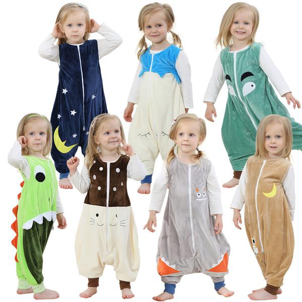Осень зима дети комбинезон фланель забавный животных равномерное детские пижамы хлопок One Piece рукавов спальный мешок детские анти-удар пижамы