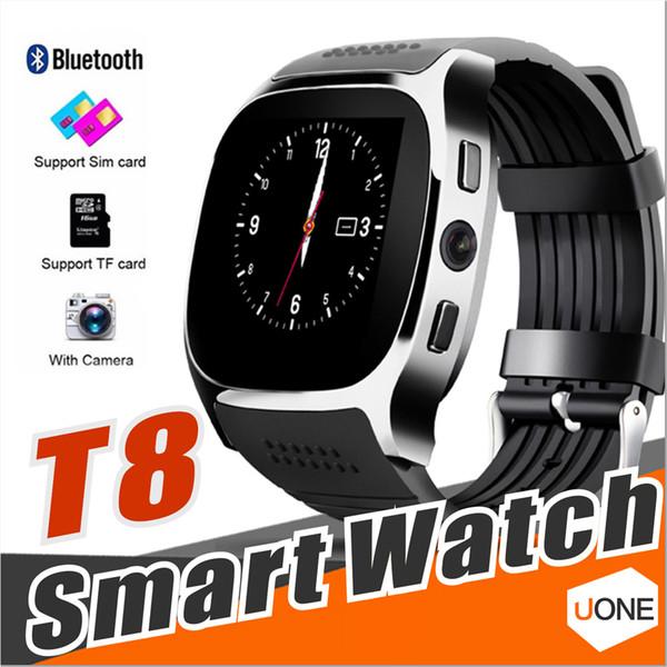 Per Apple iPhone Android T8 Bluetooth intelligente guardare Pedometro SIM TF card con la macchina fotografica di sincronizzazione Chiamata Messaggio Smartwatch pk DZ09 U8 Q18