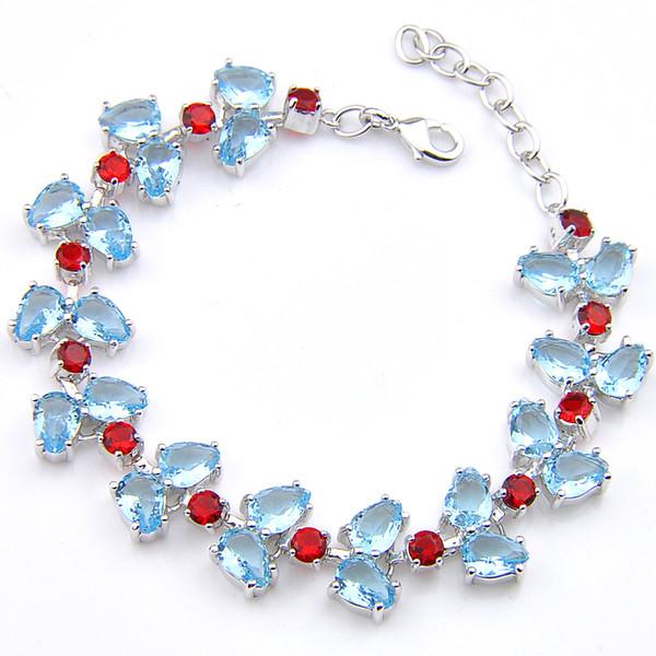 5Pcs Luckyshine Sparking Trendy Fire Drop Sky Blue Topaz Garnet Cubic Zirconia Silver Olive branch Chain Bracelets Bangles Holiday Wedding