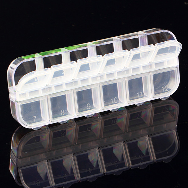 12 Cells Nail Art Glitter Rhinestone Decorations Store Empty Storage Case nail decoration box Container Drop Shipping new
