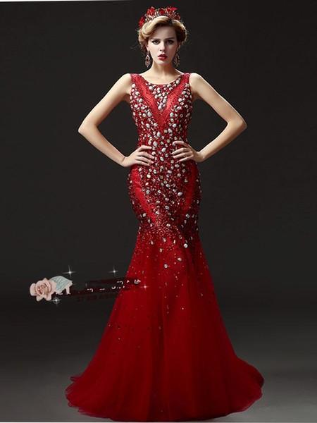 Plus Size Abiti da sera Coda di lusso Pesante perlina manuale Prom Dresses Red Champagne - New Diamond Halter Spalle Party Dresses DH029