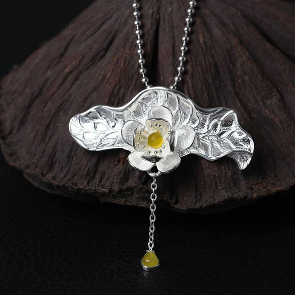 Charme da moda design original 925 sterling silver Retro natural amarelo pingente de jade Lotus Flower Colar hip hop jóias místico topázio