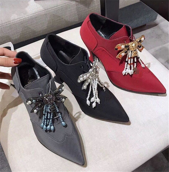 Red black Women Pumps retro rhinestone string beaded 9 cm High Heels Jewelry crystal pear ankle boots wedding Shoes for ladies