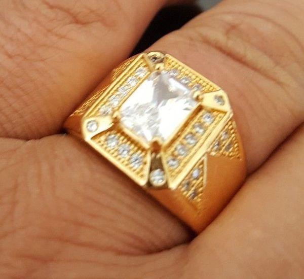 Modeschmuck Für Men's18k Gold Überzogene Signet Band HipHop Micropave CZ Kristall herren Ring Größe 8-15 # 161