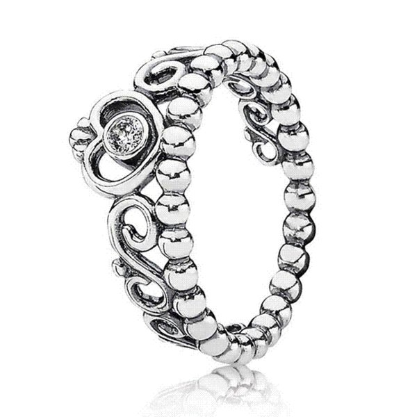Fairytale Princess Tiara Heart Of Winter Ring 925 Sterling Silver Signature Ring For Women Wedding DIY Pandora Jewelry