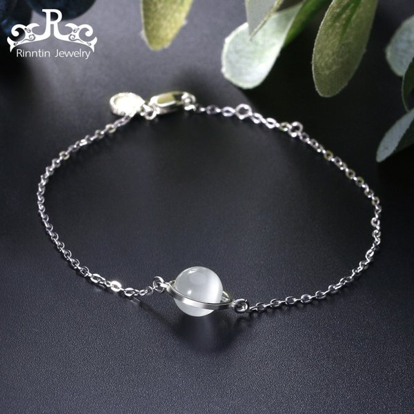 Rinntin Pure 925 Sterling Silver Women Bangles & Bracelets Charms Cat Eye Lobster Buckle Girls Engagement Party Jewelry SB21-M
