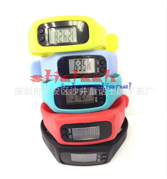 by dhl or ems 200pcs Digital LCD Pedometer Watch Run Outdoor Step Walking Distance Calorie Counter Bracelet Watch Sport Watches