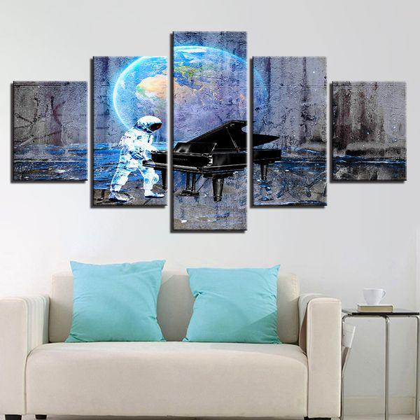 Leinwand HD Prints Poster Wandkunst Abstrakte Bilder 5 Stücke Astronaut Erde Klavier Traum Gemälde Für Wohnkultur Kinderzimmer