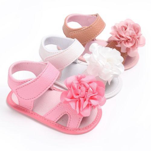 Summer Prewalker Shoes Sandals Baby Girl 0-1Y Newborn Baby Girls Shoes Big Flower PU Sandals Toddler