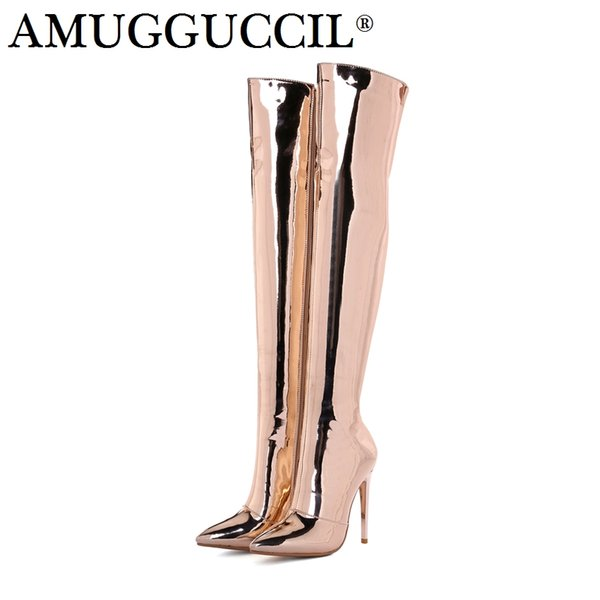 2018 New Plus Big Size 33-43 Rose-gold Silver Zip 12CM High Heel Sexy Over The Knee Thigh High Autumn Winter Women Boot X1702