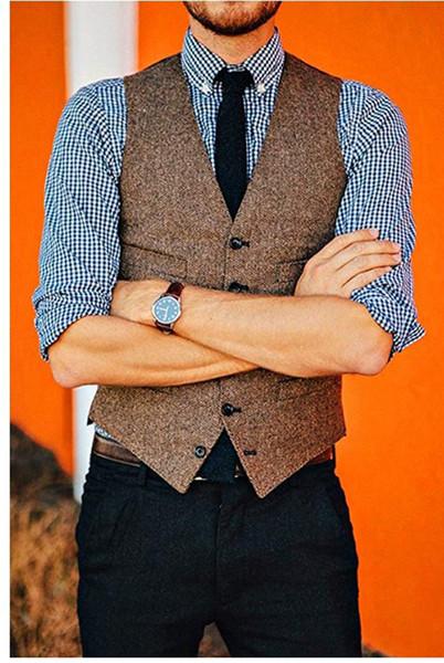 Estilo britânico Do Vintage Marrom De Lã De Tweed Noivo Coletes Vestidos Formais Do Noivo Terno Do Colete de Casamento dos homens do Smoking Colete Plus Size
