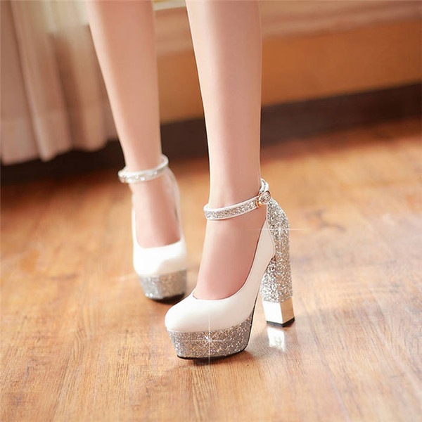 Glitter Sequined Cloth Woman Dress Shoes 13cm High Chunky Heel Platform Pumps Black Red Party Club Flock PU Leather Lady Ankle Strap Pumps