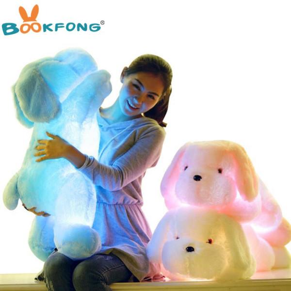 BOOKFONG 50 CM Länge Kreatives Nachtlicht LED Schöne Hund Gefüllte und Plüschtiere Beste Geschenke für Kinder und Freunde