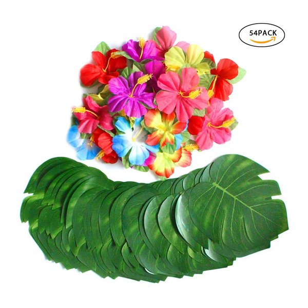 30 stücke Künstliche Tropische Palmblätter 24 stücke Hibiskus Blume Hawaiian Jungle Beach Thema Familie Garten Hochzeit Tischdekoration