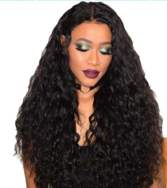 2018 6a 100% unprocessed remy virgin human hair natural color long kinky curly full lace wig for women