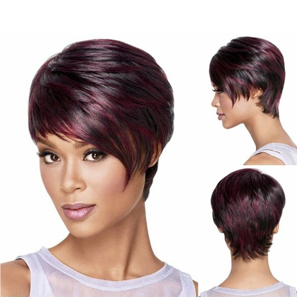 New Red Afro Short Pixie Cut Style High Quality Wig with Bangs Straight Synthetic African American Wigs for Women