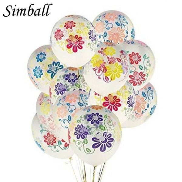 vent Party Ballons Accessories Simball 10pcs/lot 12inch Clear Peony Flower Latex Balloon Inflatable Transparent Balloon Happy Birthday We...