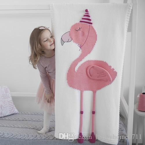 FLAMINGO 3D Blanket Newborn Knitted Blanket Nordic Flamingos Crib Towel Blankets Kids Baby Room Decoration Swaddle Photography Prop blanket