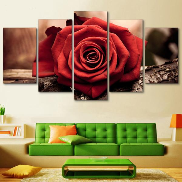 Arte da parede 5 Peças / Pcs Rosa Vermelha Flor Cartaz Quadros de Impressão HD Modular Impresso Decoração Fotos Pintura Da Lona Sala de estar