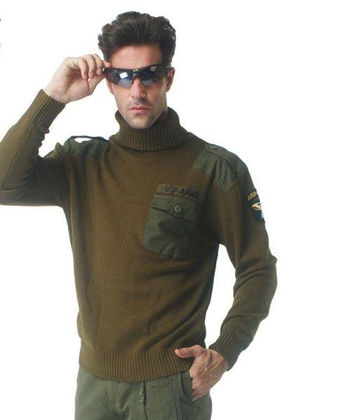 Acquista Maglione Militare Delle Forze Aeronautiche Degli Uomini Bandiera Americana Design Patch Tattico Lavorato A Maglia Highneck Maglioni Autunno
