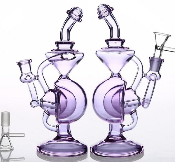 Purple Straight Type Glass Bong 14 mm Dab Rig Bubbler Thicken Glass Water Pipes Beaker Recycler Oil Rigs Water Pipes Bongs Free Shipping