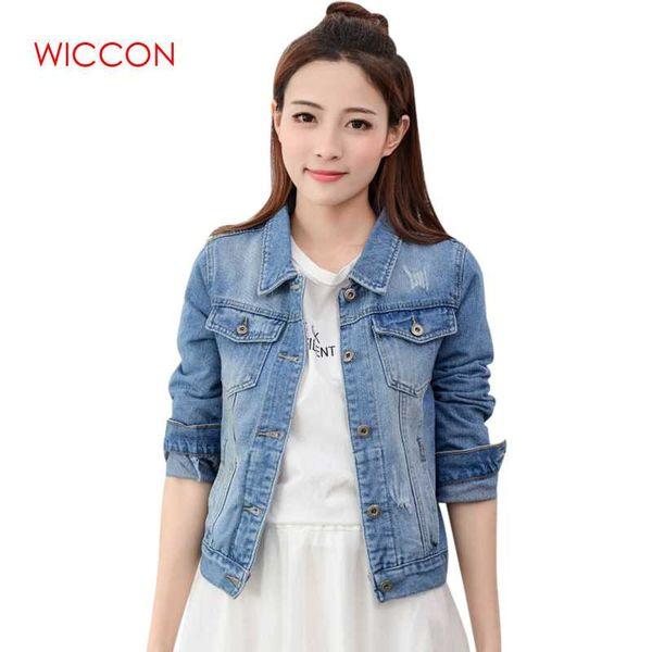 Marka Spirng Sonbahar Yeni Kadınlar Için Denim Ceket Moda Rahat Bağbozumu Kot Giysi Ceket Kadın Patchwork Tek Göğüslü Ceket