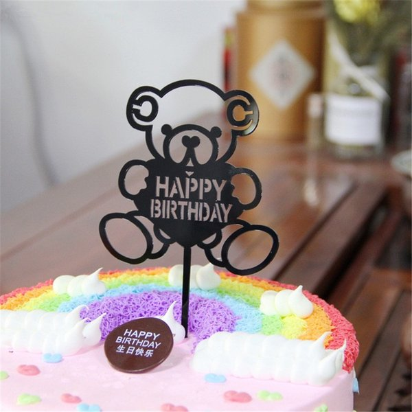 CRLEY 5pcs acrylic cake toppers bear shape happy birthday cupcakes baking home party decoration birthday flags free shipping