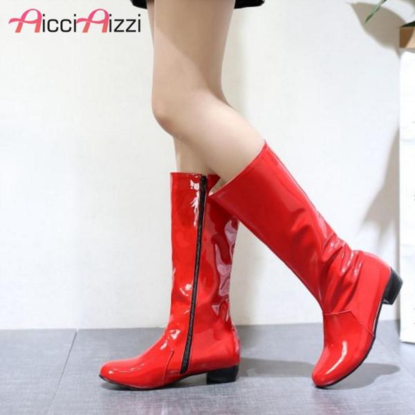AicciAizzi Artı Boyutu 30-48 Kadın Kış Yassı Çizmeler Patent Deri Kadın 'Ayakkabı Moda Fermuar Yarım Çizmeler Yuvarlak Ayak Ayakkabı Uyarmak