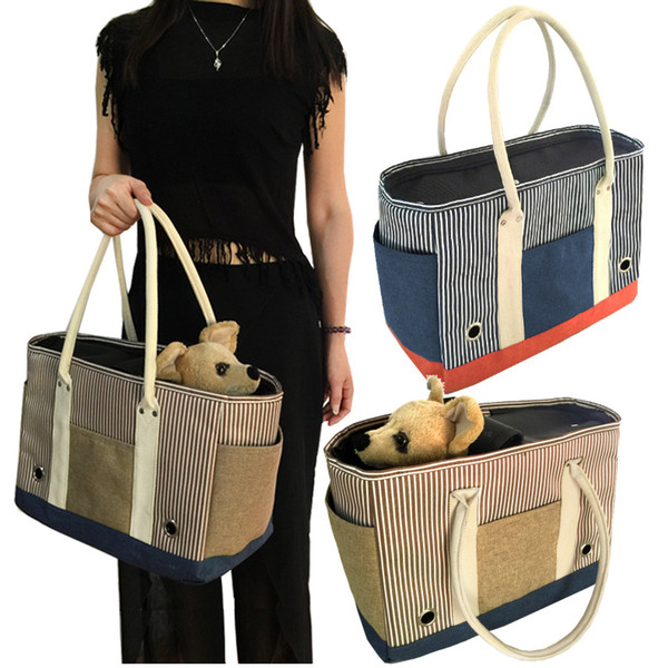 Durable Small Pet Cat Dog Travel Luxury Carrier Bag Dog Puppy Outdoor Portable Carrying striped Handbag