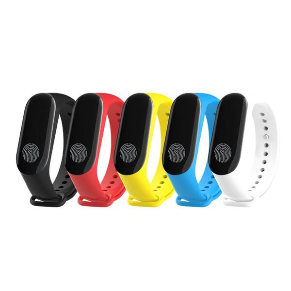 100% original mi banda m3 inteligente pulseira pulseira com oled touchpad suporte de monitoramento de freqüência cardíaca de fitness para ios android telefone