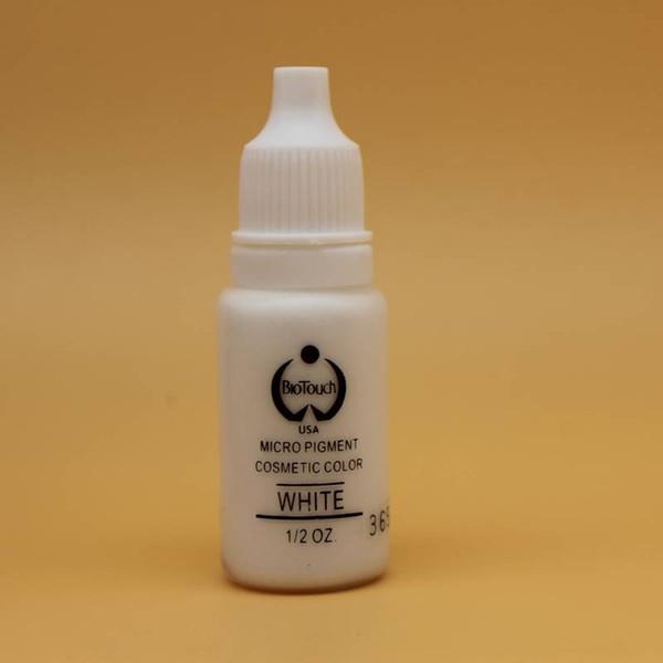 2 pzs. BLANCO Maquillaje permanente Micro pigmentos Biotouch 1/2 oz 15 ml Tinta de tatuaje para cejas Labio Tatuaje Cosmético